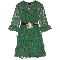 Anna Sui Camilla velvet-trimmed crocheted lace mini dress (51.015 RUB) ❤ liked on Polyvore featuring dresses, short floral dresses, green floral dress, flower print dress, floral print dress and velvet mini dress