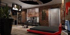 brick wall modern red platform bed design contemporary bedroom ideas for men