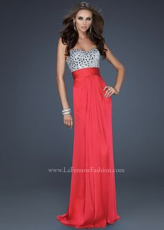 La Femme Style 17909 Prom Dress available in Watermelon, White, Cotton Candy Pink, Jungle Green, Light Purple, Sapphire Blue