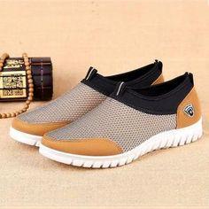 3b99b359762978 mens Casual Mesh Sport Shoes Slip on Soft Comfy Shoes