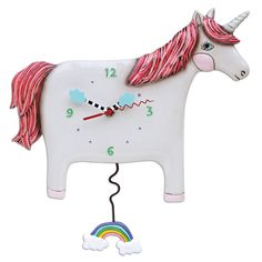 """The unicorn """"Buttercup"""" clock is a whimsical, unique gift. The white unicorn comes equipped with hand painted cloud clock hands and a sparkle swinging rainbow p Pendulum Wall Clock, Wall Clocks, Top Gifts For Girls, Paint Recycling, Catching Fireflies, Unicorn Wall, Clocks For Sale, Unicorns And Mermaids, Little Boy And Girl"""