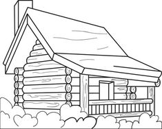 coloring pages of a log | Log Cabin Woods Sketch Templates | Line Drawings/Templates ...