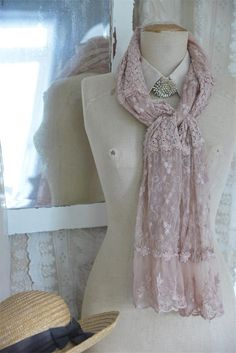 Tea Rose Mixed Lace Scarf
