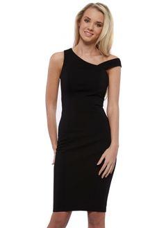 Lavish Alice Black Asymmetric Shoulder Strap Bodycon Midi Dress
