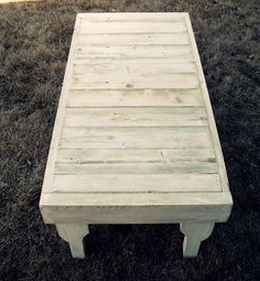 Wonderful use for reclaimed fence wood and studs.  A coffee table!  Talk about sustainability.