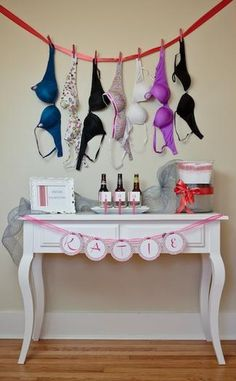 What a great way to get new bras! At the bridal shower have guests bring a bra that they pick out for the bride and the bride has to guess who brought which one, then she gets to keep them!