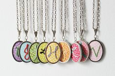 Embroidered Initial Necklace. Handmade by door merriweathercouncil,