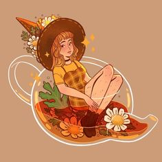 Drawing Flowers Finally working on new tea witches! ✨ this girl is Chamomile! ✨✨ what other flower based teas would you like to see? Art And Illustration, Illustrations, Kunst Inspo, Art Inspo, Kawaii Drawings, Cute Drawings, Pretty Art, Cute Art, Anime Kunst