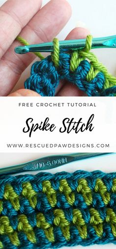 How to Make a Spike Stitch - Crochet Tutorial ⋆ Rescued Paw Designs Crochet by Krista Cagle Learn how to make the Spike Stitch in Crochet with the free crochet stitch pattern & tutorial. Use the Spike Stitch for crochet afghans & baby blankets! Beau Crochet, Crochet Diy, Crochet Gratis, Love Crochet, Beautiful Crochet, Crochet Ideas, Double Crochet, Single Crochet, Learn How To Crochet