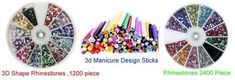 3 in 1:1200 Piece 3D Design Star Shape Rhinestones ,2400 Piece Rhinestones 12 Color and 100 Pc Nail Art Nailart 3d Manicure Design Sticks -- You can find more details by visiting the image link.