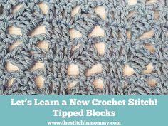 The Stitchin' Mommy: Tipped Blocks Stitch with a full photo tutorial, and 8 Inch Afghan Block Pattern. ✿⊱╮Teresa Restegui http://www.pinterest.com/teretegui/✿⊱╮