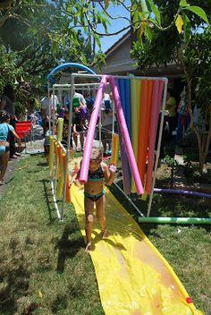 Car Wash/ slip and slide fun Backyard Water Fun, Backyard For Kids, Summer Activities, Toddler Activities, Wipeout Birthday, Kids Sprinkler, Sprinkler Party, Ninja Party, Double Dare