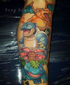 gamer.ink: Charizard Blastoise and Venusaur tattoo done by @prhymesuspect.