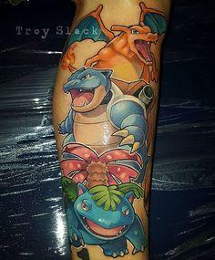 gamer.ink: Charizard Blastoise and Venusaur tattoo done by @prhymesuspect.