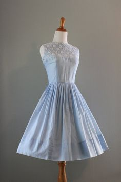 Vintage 50s Dress / 1950s Sundress / 50s Blue by HolliePoint, $124.00