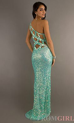 What a pretty mermaid dress. Primavera One Shoulder Sequin Open Back Gown at PromGirl.com
