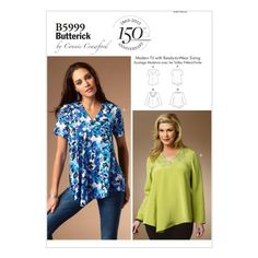 Butterick 5999 Connie Crawford Tunic Top Sewing Pattern Large Plus Size B5999