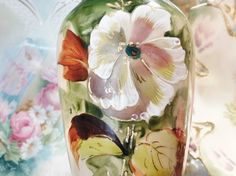 Antique Bristol Glass Vase 1800s Victorian Clambroth Opaline Hand Painted Botanical Scene Artisan Hand Blown Glass Cottage Chic Home Decor