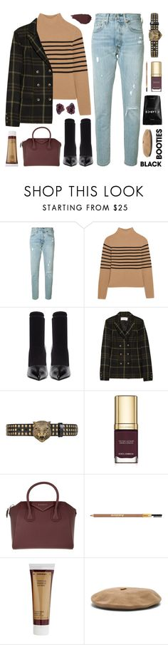 """""""back to basics: black booties"""" by jesuisunlapin ❤ liked on Polyvore featuring Levi's, Topshop Unique, Balenciaga, Thakoon Addition, Gucci, Dolce&Gabbana, Givenchy, Sisley, Korres and Janessa Leone"""