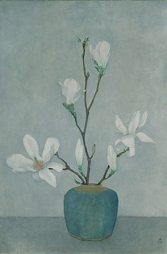 Jan Boon (Dutch, 1882-1975), Magnolias in a blue jar, 1958. Oil on canvas, 80 x 54 cm.