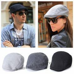 Men Women Newsboy Beret Cabbie Gatsby Peaked Baker Flat Hat Golf Driving Sun Cap
