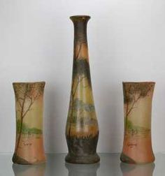Legras 3 decorated glass vases triptych 1900