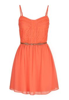 lace top chiffon dress with belt (original price, $44) available at #Maurices