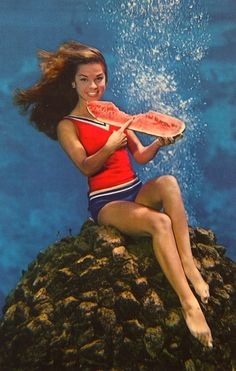 "UNDERWATERMELON  A REAL ""WATER"" MELON…Celebrating the watermelon season each year, this lovely WEEKI WACHEE MERMAID takes her slice beneath the surface at the SPRING OF LIVE MERMAIDS in Florida."