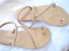 468f64a1010a Items similar to Strappy crystal leather sandals