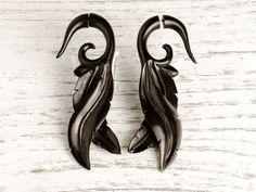 Fake Gauge Earrings Leaves Wooden Tribal Gauges Plugs Bone Horn Fg087 Dw G1