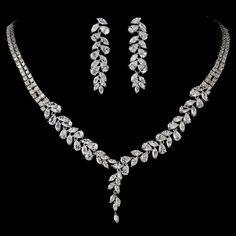Intricate Cubic Zirconium Crystal Leaf Bridal Necklace & Earring Jewelry Set - NE 2584