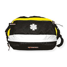 Extra Volume Waist Bag Wearable bags keep critical care supplies easily accessible in emergency situations without causing interference while administering treatment. Great for hands free transport in the hospital and it will keep meds secure on staff members body. Durable, heavy-duty bags easily adjust to fit the user and provide exceptional comfort. Reflective details provide improved visibility. Soft Yellow and Black tear-proof nylon bag