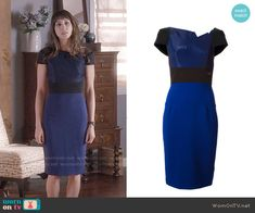 Spencer's blue and black folded neck dress on Pretty Little Liars.  Outfit Details: https://wornontv.net/56555/ #PLL