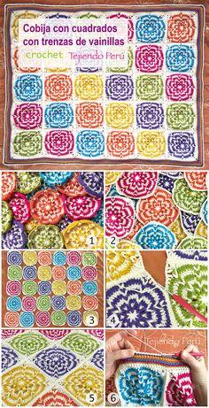 Crochet: paso a paso para tejer una cobija con grannies o cuadrados con trenzas de vainillas!