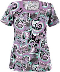 UA Butterfly Ocean Grey Stone Print Scrub Top Style #  UA788BFO  | Radiant Orchid