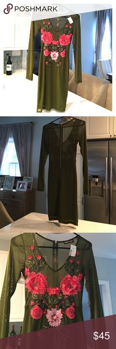 Gorgeousssss olive dress new with tags! Perfect condition never worn (only to model).  Sheet top, with flowers meant to cover you. ❌no trades❌ Top chic Dresses Mini