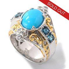 132-996 - Gems en Vogue 10 x 8mm Oval Sleeping Beauty Turquoise & Princess Cut Gem Ring