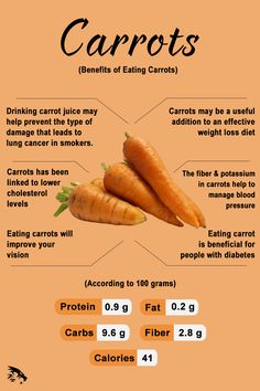 The carrot (Daucus carota) is a root vegetable often claimed to be the perfect health food. Carrots are a particularly good source of beta carotene, fiber, vitamin potassium, and antioxidants. Carrot Health, Health Diet, Health And Nutrition, Carrots Nutrition, Carrot Benefits, Vegetable Benefits, Fruit Benefits, Health Benefits, Vegetables Garden