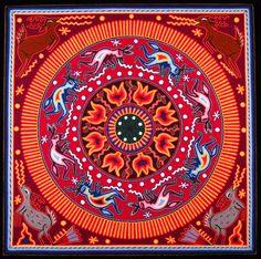 "Ceremonia del Peyote (#MEL1002)  Huichol yarn painting  Maria Esther Lara  Nayarit, Mexico, c. 2009  Yarn pressed into beeswax on plywood  (24"" x 24"")"