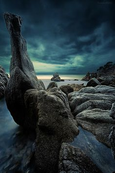 Photography by Romain Matteï. Blue hour in Cala Els Frares, Lloret de Mar, Costa Brava, Spain.