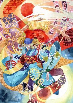 Mononoke by *chernotrav Illustrations, Illustration Art, Vocaloid, Ghibli Movies, Japan Art, I Love Anime, Surreal Art, Anime Shows, Mobile Wallpaper