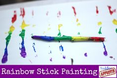 Toddler Approved: Rainbow Stick Painting with red white and blue for the Art Activities For Kids, Preschool Crafts, Toddler Activities, Art For Kids, Rainbow Activities, Outdoor Activities, Toddler Art, Toddler Crafts, Crafts For Kids
