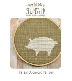 Pig Silhouette Cross Stitch Pattern Instant Download by Sewingseed, $4.00