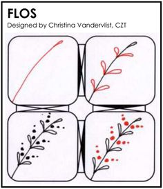 "Zentangle - Flos Great example of a visual to teach my students ""how to draw"" a ""flo"". We are learning how to do things in a sequence and this visual is easy to follow, beautiful and students can see the changes from first to finally."