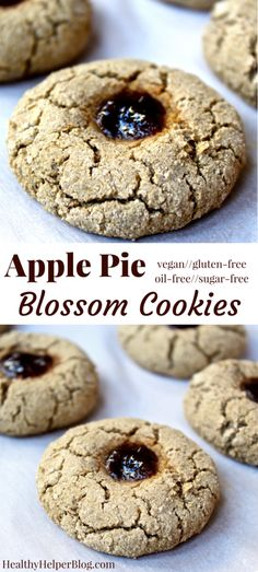 Apple Pie Blossom Cookies from doughy thumbprint cookies with a heavenly apple cinnamon scent and taste! Vegan, gluten-free, and only sweetened with fruit. These cookies are like bite-sized apple pies! Gluten Free Cookies, Gluten Free Desserts, Vegan Desserts, Vegan Gluten Free, Gluten Free Recipes, Delicious Desserts, Cookies Vegan, Healthy Dessert Recipes, Vegan Recipes Easy