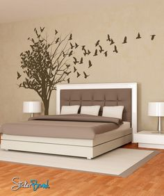 Birds Flying From Tree Vinyl Wall Decal Sticker
