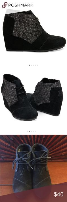 ❤️TOMS Deserts Wedges Black suede Metallic❤️ Those these!!! Pre loved condition but plenty of wear left!!! So cute and very comfortable!!! Light scuffing on the toes... see pic...make me an offer😊 TOMS Shoes Wedges