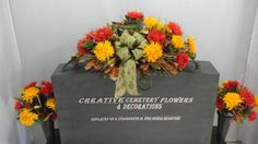 Fall Spidermum Deluxe Cemetery Flower Headstone Saddle + Matching Vase Bushes
