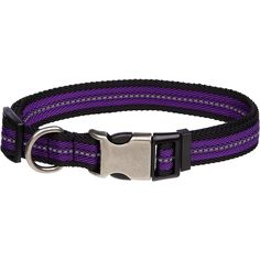 "XS/SM, For Necks 9"";-14"";, Petco Reflective Adjustable Purple Dog Collar is constructed of durable nylon for strength and flexible comfort. Tough plastic buckles with built-in adjustment slides and metal d-rings for years of dependable use."