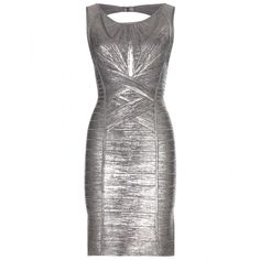 Hervé Léger Marella Metallic Bandage Dress ($2,160) ❤ liked on Polyvore featuring dresses, silver, silver metallic dress, white dress, silver dress, hervé léger and herve leger dress